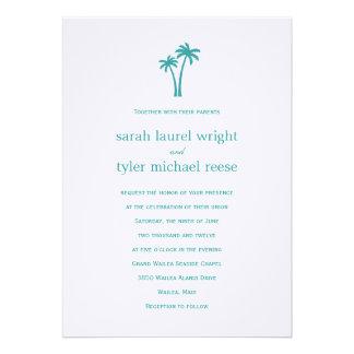 Palm Trees Wedding Invitation - White Aqua Invites