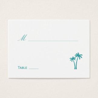 Palm Trees Wedding Place Card - White/Aqua