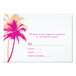 "Palm Trees Wedding Response Cards 3.5"" X 5"" Invitation Card"