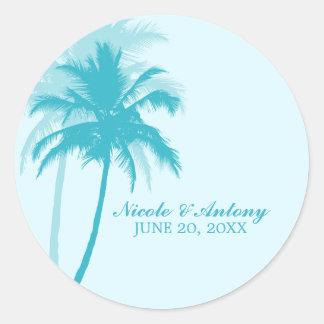 Palm Trees Wedding Round Sticker