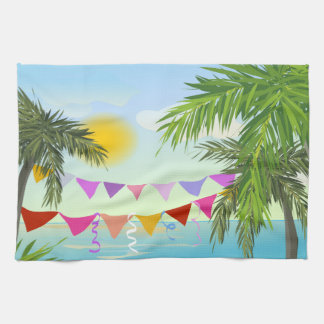 Palm trees with Bunting and Sun dishtowel Kitchen Towel