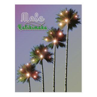 Palm Trees With Lights Mele Kalikimaka Postcard