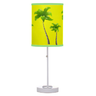Palm Trees Yellow Table Lamp