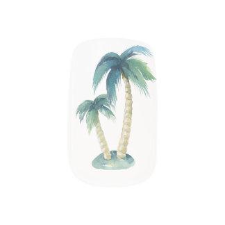palm tropical nail art, pastel colours, modern minx nail art