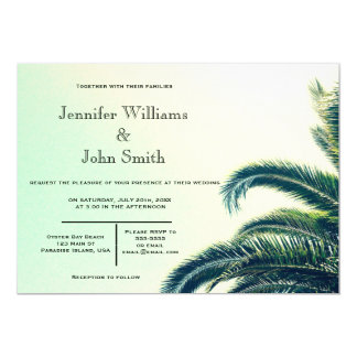 Palm Typography Destination Wedding Invitations