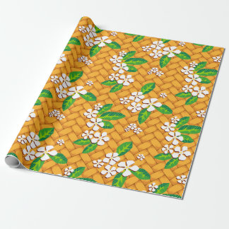 Palm Weave Plumeria Wrapping Paper