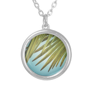 Palm whisk in the summer sky silver plated necklace