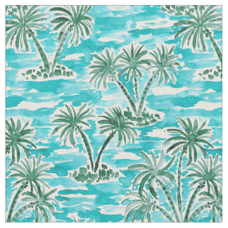 PALM WONDERLAND Tropical Hawaiian Watercolor Fabric
