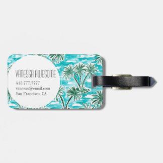 PALM WONDERLAND Tropical Hawaiian Watercolor Luggage Tag
