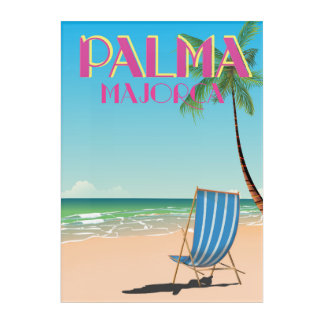 Palma Majorca Beach holiday poster Acrylic Wall Art
