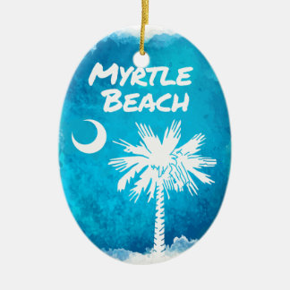 Palmetto Paint Splatter Ceramic Oval Ornament