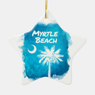 Palmetto Paint Splatter Ceramic Star Ornament