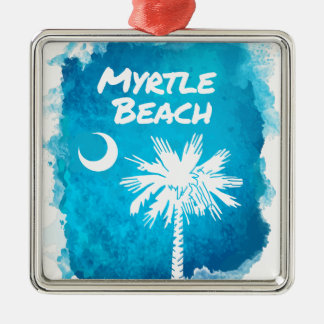 Palmetto Paint Splatter Silver-Colored Square Ornament