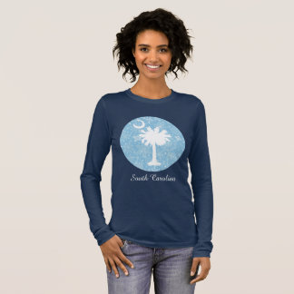 Palmetto Tree and Moon Snowflake Design Long Sleeve T-Shirt