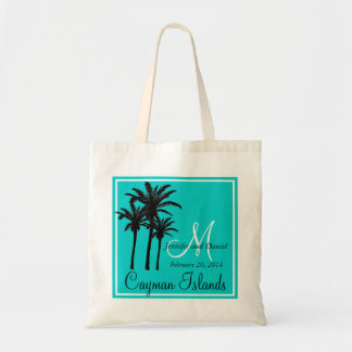 Palmiers bleus turquoises de mariage de plage sac en toile budget