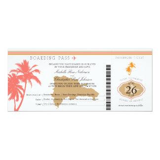 Palmiers de carte d'embarquement de la République Carton D'invitation 10,16 Cm X 23,49 Cm