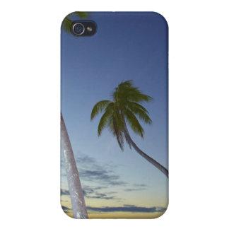 Palmiers et coucher du soleil, île-hôtel de planta coque iPhone 4 et 4S