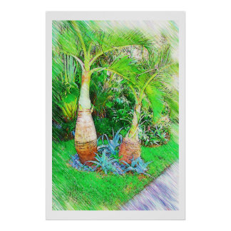 Palms & Landscape  - Miami Beach, Fl collection Poster