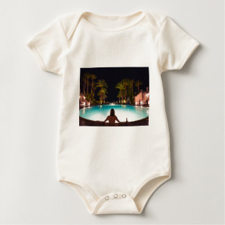 Palms, pool, woman and beer... baby bodysuit