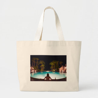 Palms, pool, woman and beer... large tote bag