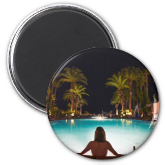 Palms, pool, woman and beer... magnet