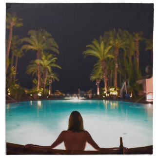 Palms, pool, woman and beer... napkin