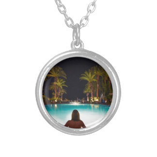 Palms, pool, woman and beer... silver plated necklace