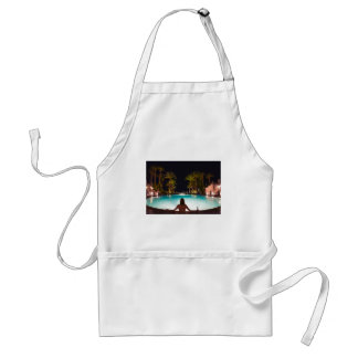 Palms, pool, woman and beer... standard apron