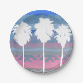Palms Trees in Aztec Sunset 7 Inch Paper Plate
