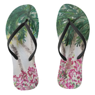 Palmtrees in Paradise Flip Flops