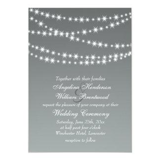 Paloma Gray Twinkle Lights Wedding Invitation