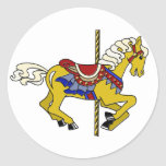 Palomino Carousel Horse Round Stickers