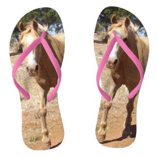 Palomino Horse Greeting, Ladies Pink Flip Flops