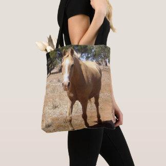Palomino Horse Greeting, Tote Bag
