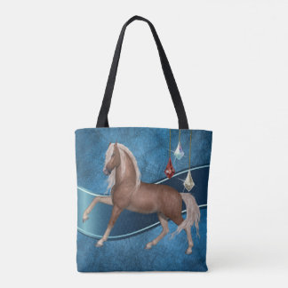 Palomino Horse on Blue Tote Bage