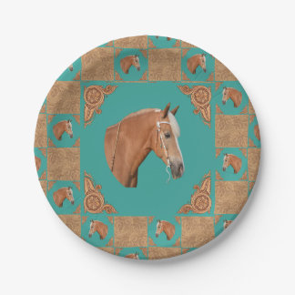 Palomino Horse With Leather Print Western Party 7 Inch Paper Plate
