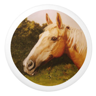 Palomino Horse with White Blaze Ceramic Knob