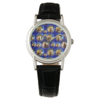Palomino Horses Collage, Ladies Leather Watch
