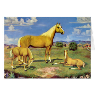Palomino Mare and Colts Card