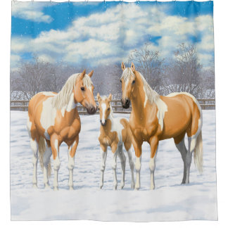 Palomino Paint Horses In Snow