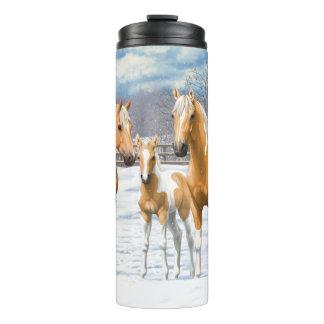 Palomino Paint Horses In Snow Thermal Tumbler