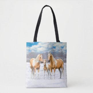 Palomino Paint Horses In Snow Tote Bag