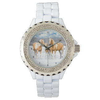 Palomino Paint Horses In Snow Wristwatches