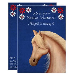 Palomino Pony Red White Blue Horse Birthday Invite