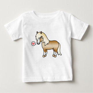 Palomino Shetland Pony Illustration & A Pink Heart Baby T-Shirt