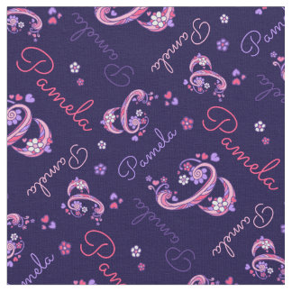Pamela letter P monogram heart flowers fabric
