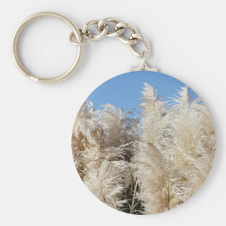 Pampas Grass with a Sunny Blue Sky Basic Round Button Keychain