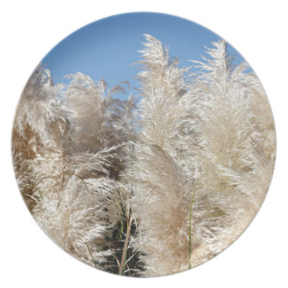 Pampas Grass with a Sunny Blue Sky Plate