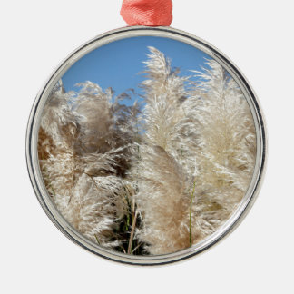 Pampas Grass with a Sunny Blue Sky Silver-Colored Round Ornament