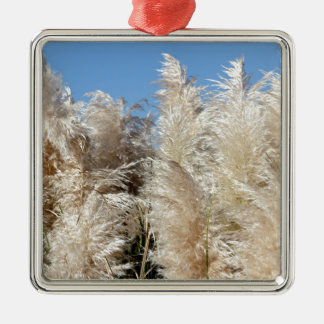 Pampas Grass with a Sunny Blue Sky Silver-Colored Square Ornament